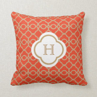 Orange and Gold Moroccan Monogram Throw Pillow