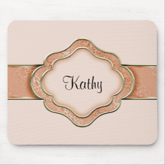 Orange and Gold Ribbon Mouse Pad