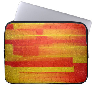 Orange and Gold Stainless Steel Metal 2 Computer Sleeve