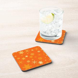Orange And Gold Stars Festive Beverage Coaster