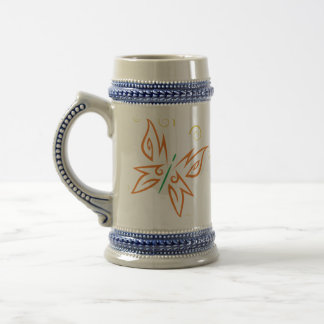 Orange and Gold Tribal Butterfly Tattoo Design Beer Stein