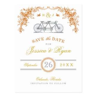 Orange and Gold Vintage Bicycle Save the Date Post Cards