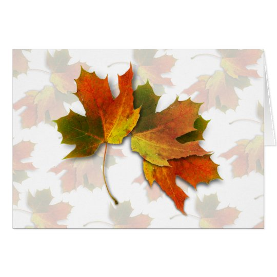 Orange And Golden  Autumn Leaves Card