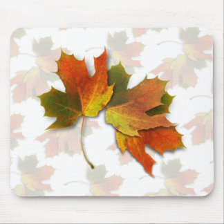 Orange And Golden  Autumn Leaves Mouse Pad