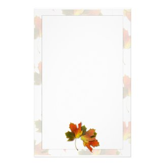 Orange And Golden  Autumn Leaves Stationery