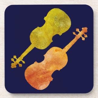 Orange and Golden Violins Coaster