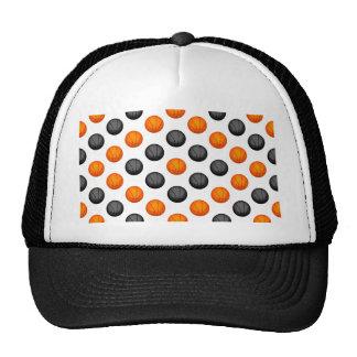 Orange and Gray Basketball Pattern Mesh Hats