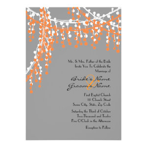 Orange and Gray Beaded Wedding Invitation