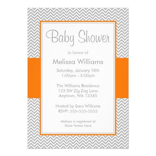 Personalized Orange gray chevron baby shower Invitations
