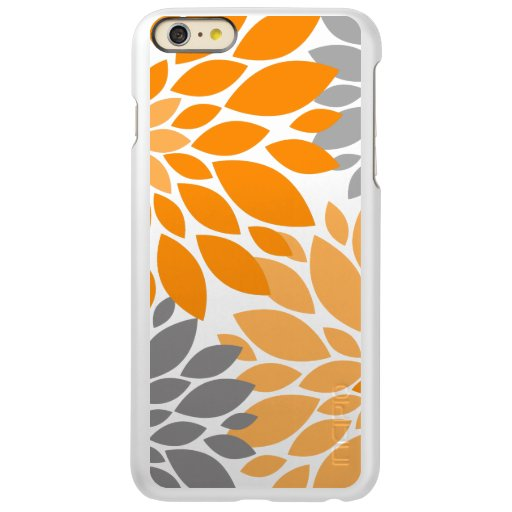 Orange and Gray Chrysanthemums Floral Pattern Incipio Feather Shine iPhone 6 Plus Case