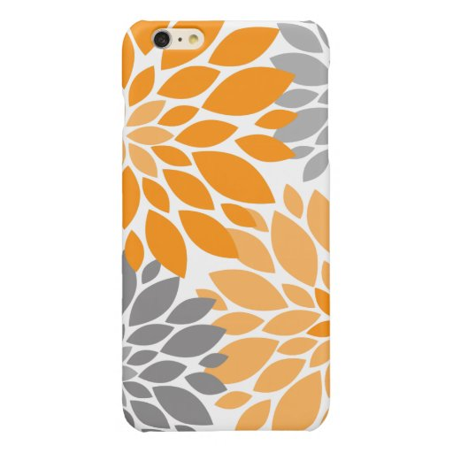 Orange and Gray Chrysanthemums Floral Pattern Glossy iPhone 6 Plus Case