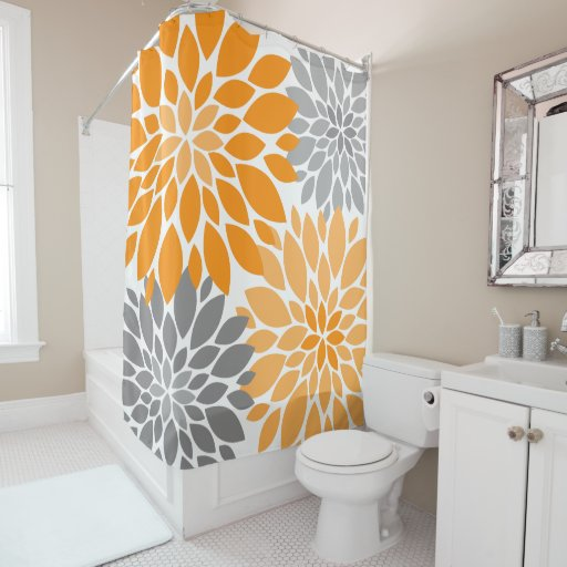 Orange and Gray Chrysanthemums Floral Pattern Shower Curtain