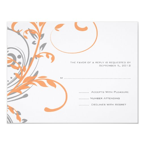 Orange and Gray Double Floral Wedding RSVP 4.25x5.5 Paper Invitation Card