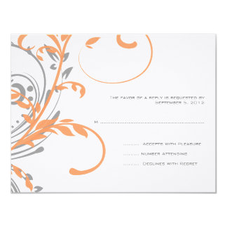 Orange and Gray Double Floral Wedding RSVP Card