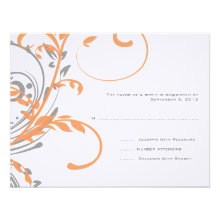 Orange and Gray Double Floral Wedding RSVP Announcement