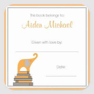 Orange and Gray Elephant Baby Shower Book Plate Stickers