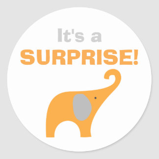 Orange and Gray Elephant Baby Shower Seal Round Stickers