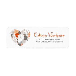 Orange and Gray Floral Heart Wedding Address Label