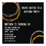 Orange and Gray Grunge Circles Boy Birthday Party Personalized Invites