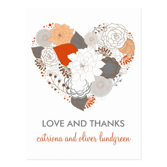 Orange and Gray Heart Flowers Thank You Postcard