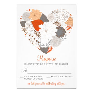 Orange and Gray Heart Flowers Wedding RSVP Card