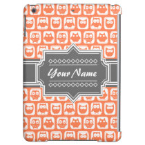 Orange and Gray Owl Personalized Name iPad Air Case