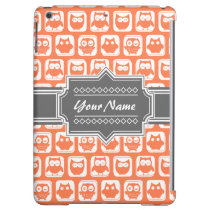 Orange and Gray Owl Personalized Name iPad Air Cover