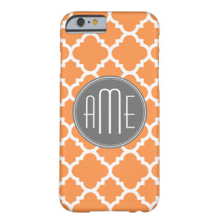 Orange and Gray Quatrefoil Pattern Monogram Barely There iPhone 6 Case