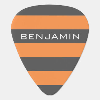Orange and Gray Rugby Stripes with Custom Name Pick