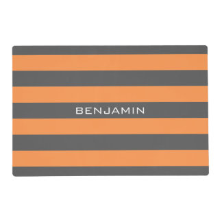 Orange and Gray Rugby Stripes with Custom Name Placemat