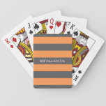 "Orange and Gray Rugby Stripes with Custom Name Playing Cards<br><div class=""desc"">A manly pattern for the guys and boys in your family. A bold and modern design with an area for customized text. If you need to adjust the artwork or change the font, you can click on the customize area. This will take you to the design tool where you can...</div>"