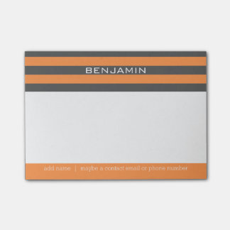 Orange and Gray Rugby Stripes with Custom Name Post-it® Notes