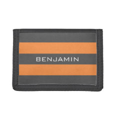Orange And Gray Rugby Stripes With Custom Name Trifold Wallet at Zazzle