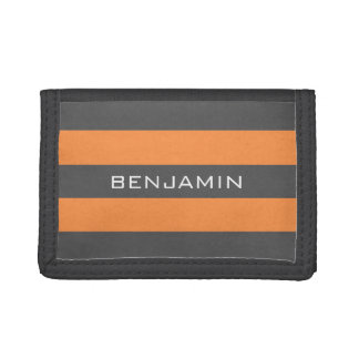 Orange and Gray Rugby Stripes with Custom Name Trifold Wallet