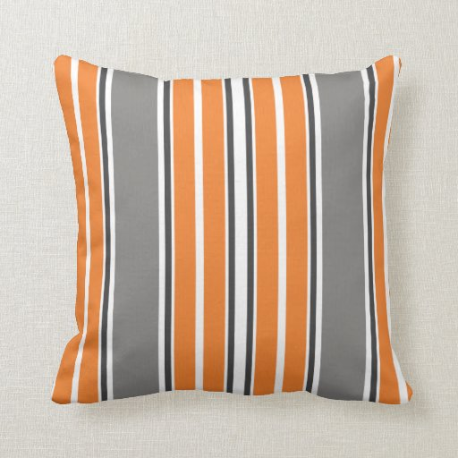 orange and gray stripe throw pillows zazzle. Black Bedroom Furniture Sets. Home Design Ideas