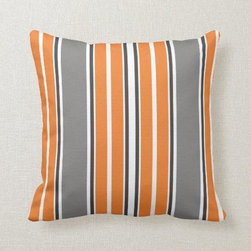 Orange and Gray Stripe Throw Pillows Zazzle