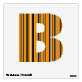 Orange and Gray Team Colors Letter B Monogram Wall Sticker