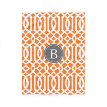 Orange and Gray Trellis Pattern Monogram Fleece Blanket