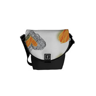 Orange and Gray Valentine Heart Pattern Courier Bag