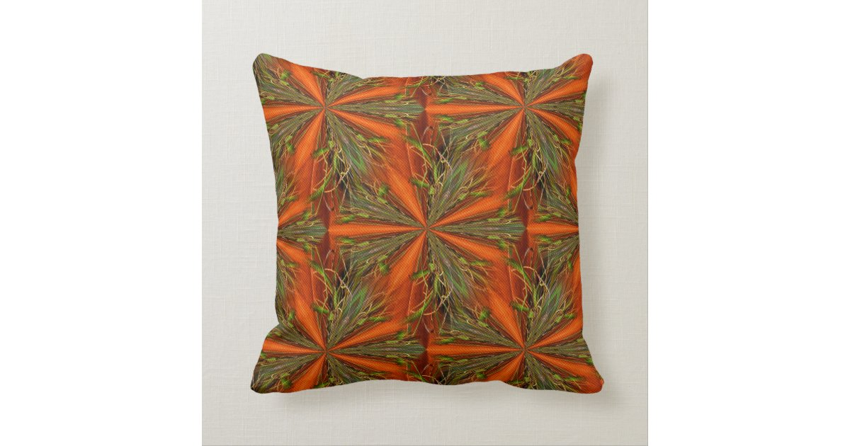 Orange And Green Abstract Design Throw Pillow Zazzle