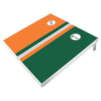 Orange and Green Add Your Logo Cornhole Set