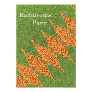 Orange and green bachelorete  party invitation