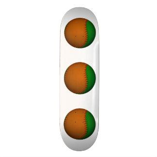 Orange and Green Baseball Skate Board Decks