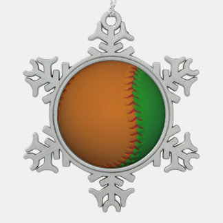 Orange and Green Baseball Snowflake Pewter Christmas Ornament