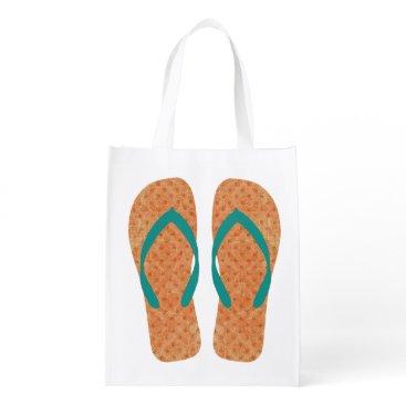 Beach Themed Orange And Green Beach Summer Flip Flops Bag