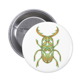 Orange and Green Beetle Pinback Button