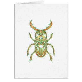 Orange and Green Beetle Greeting Card