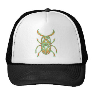 Orange and Green Beetle Mesh Hat