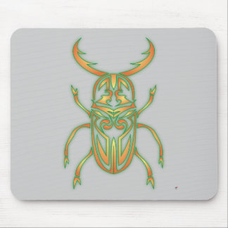 Orange and Green Beetle Mouse Pad