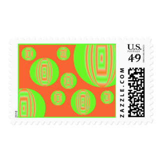 orange and green circles postage stamps